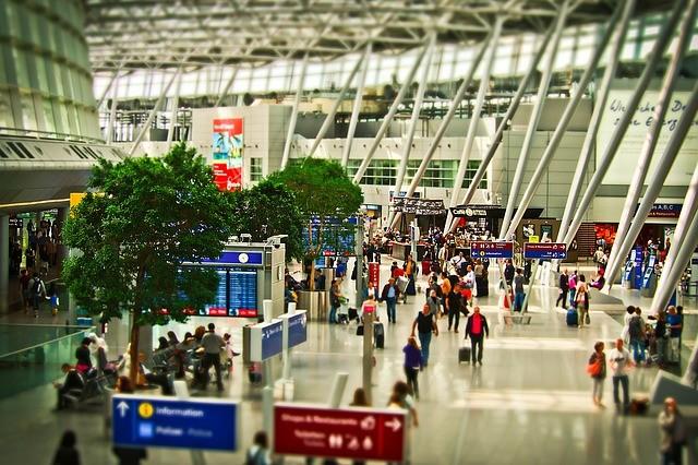 Airport terminal crowd