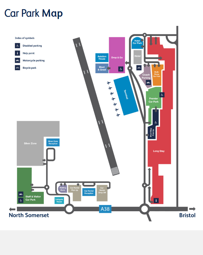 Bristol Airport Parking Direction Map